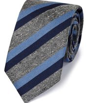 Navy silk mix fleck stripe classic tie