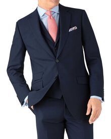 Indigo blue puppytooth classic fit Panama business suit jacket