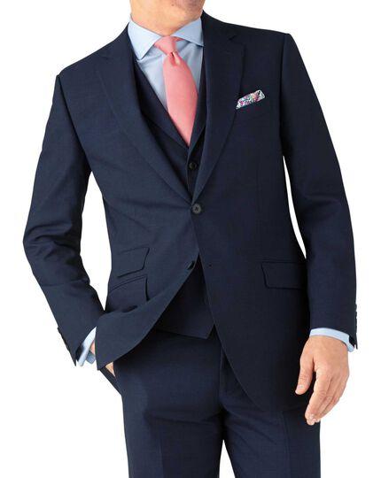 Classic Fit Panama-Businessanzug Sakko in indigoblau mit Hahnentrittmuster