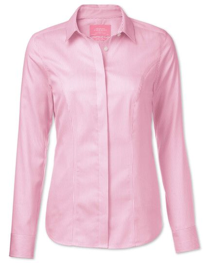 Women's semi-fitted non-iron cotton striped pink shirt