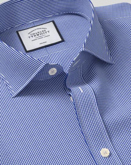 Bügelfreies Extra Slim Fit Hemd mit Haifischkragen in Königsblau mit Hahnentritt