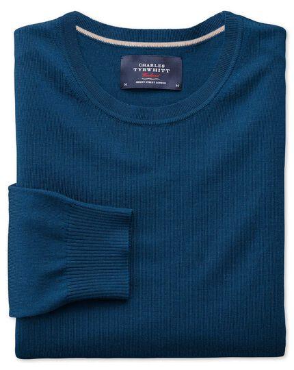 Blue merino wool crew neck jumper