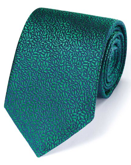 Green silk English luxury floral leaf tie