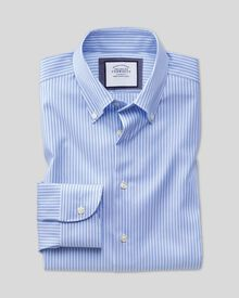 Extra slim fit business casual non iron button-down stripe sky and white shirt