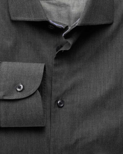 Classic fit semi-cutaway collar business casual charcoal shirt