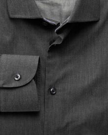 Slim fit semi-cutaway collar business casual charcoal shirt