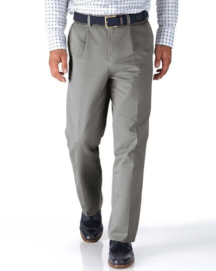 Silver grey classic fit single pleat chinos