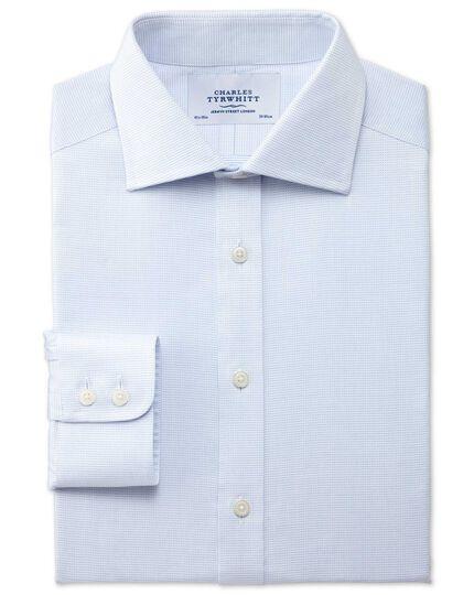 Classic fit semi-spread collar pindot sky blue shirt