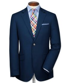Classic fit navy Italian cotton blazer