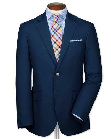Classic fit navy Italian cotton blazer