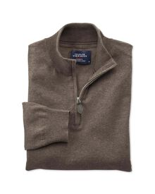 Brown cotton cashmere zip neck jumper