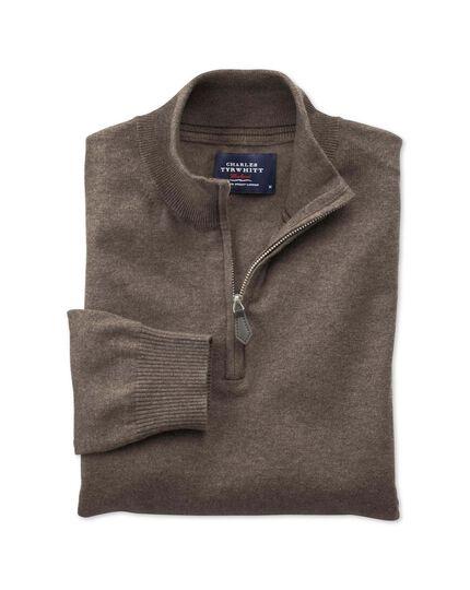 Brown cotton cashmere zip neck jumper