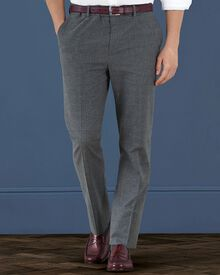 Grey slim fit cotton flannel Prince of Wales check trousers