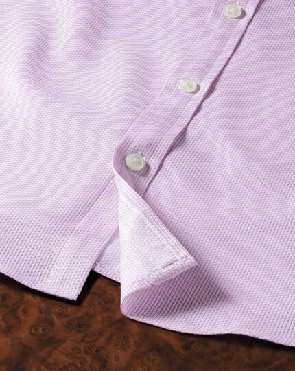 Extra Slim Fit Hemd aus ägyptischer Baumwolle in Rosa mit Diamant-Struktur