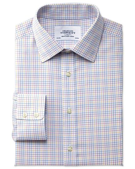 Classic fit non-iron multi check yellow shirt