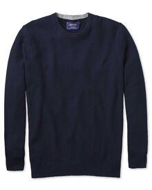 Merino / Baumwolle Pullover mit Rundhalsausschnitt in Marineblau