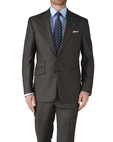 Dark grey slim fit basketweave business suit trousers