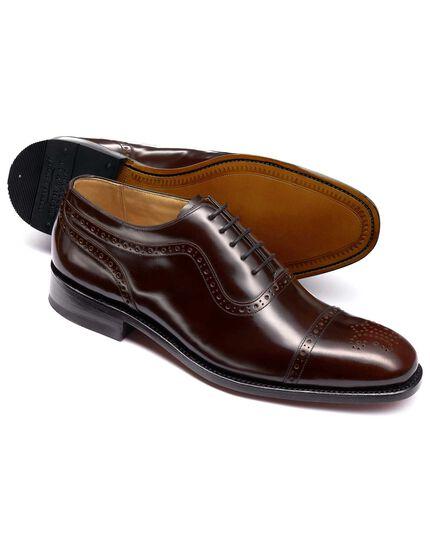 Burgundy Parker toe cap brogue Oxford shoes