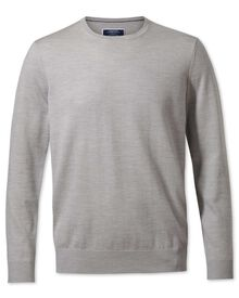 Silver merino wool crew neck jumper