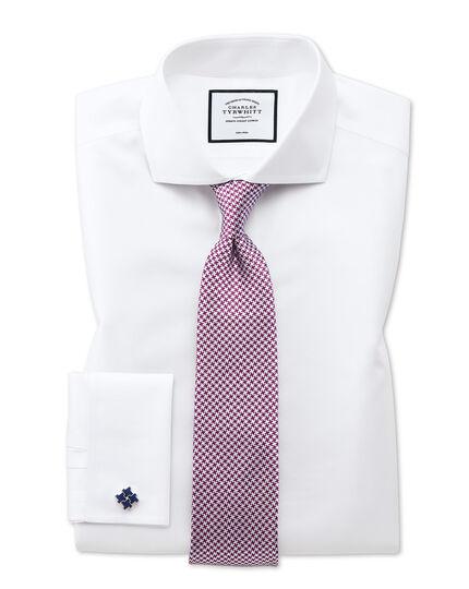 Slim fit cutaway non-iron twill white shirt