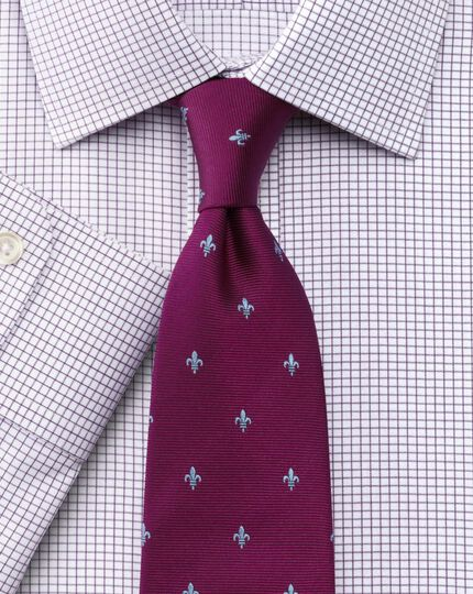 Slim fit non-iron Windsor check purple shirt