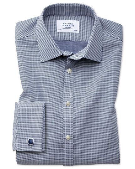 Extra slim fit non-iron square weave navy blue shirt