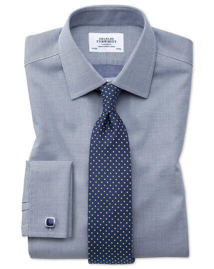 Bügelfreies Extra Slim Fit Hemd in Marineblau mit gewebten Quadraten