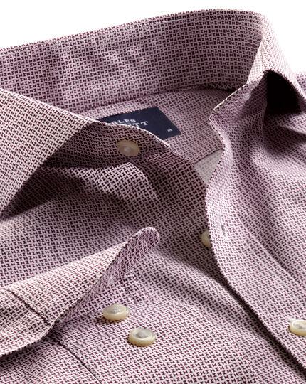 Slim fit berry geometric print shirt