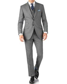 Silver slim fit British Panama luxury suit