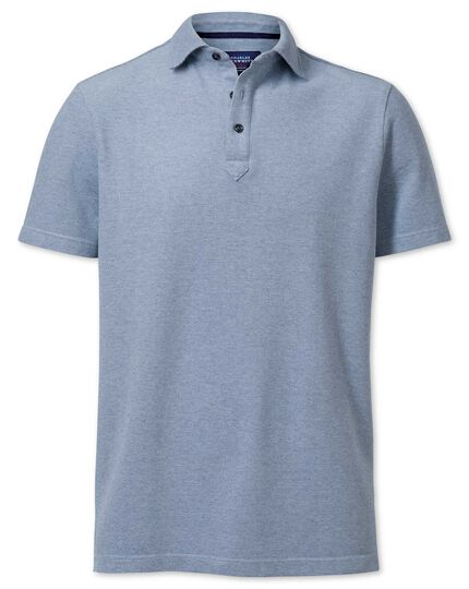 Navy and white birds eye polo