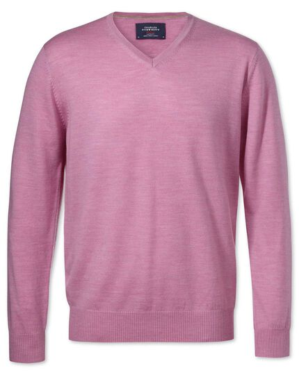 Light pink merino wool v-neck jumper