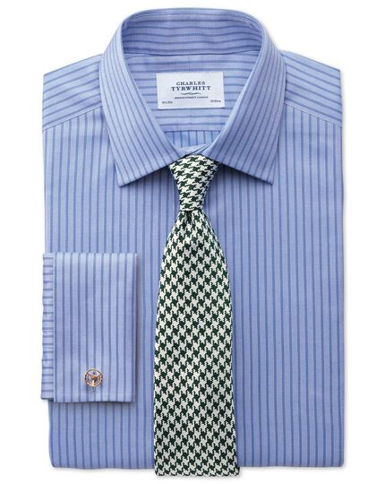 Slim fit Egyptian cotton textured stripe sky blue shirt