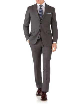 Brown slim fit hairline peak business suit
