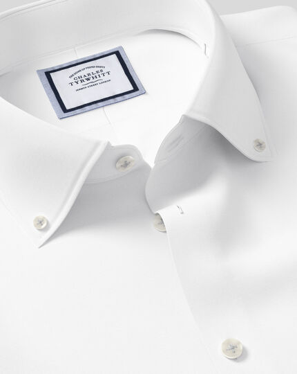 Slim fit button-down collar non-iron business casual white shirt