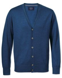 Merino Strickjacke in mittelblau