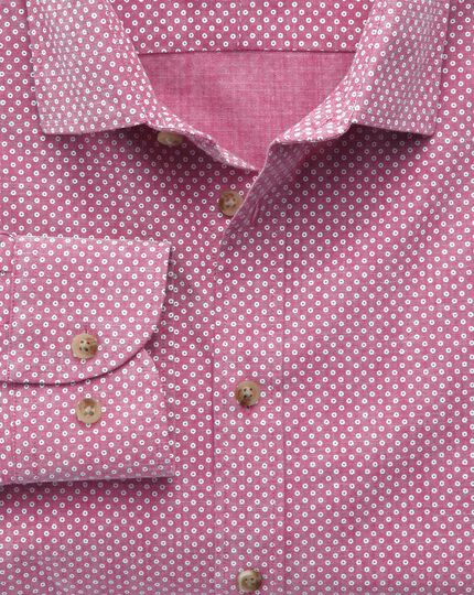 Slim fit berry red and white spot print shirt