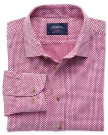 Extra Slim Fit Hemd in BeerenRot und Weiß mit Tupfen-Print