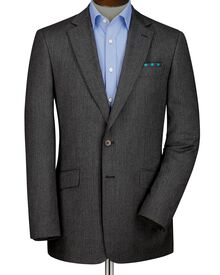 Grey slim fit herringbone blazer