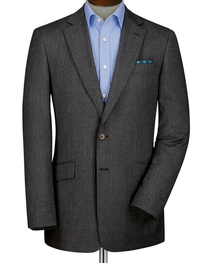 Grey slim fit herringbone blazer