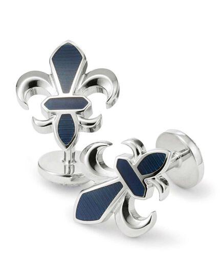 Navy Fleur-de-Lys enamel cuff links