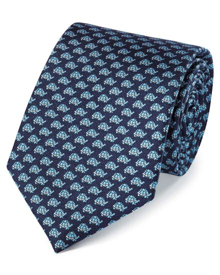 Navy and sky silk classic printed tortoise tie