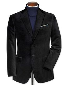Slim fit black velvet blazer