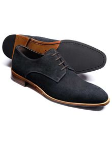 Navy Grosvenor suede Derby shoes