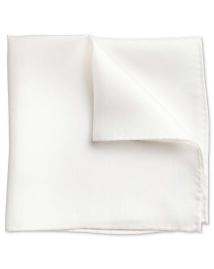 White silk evening pocket square