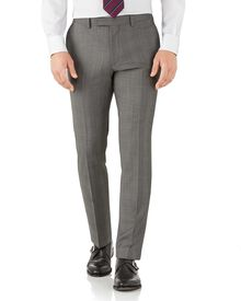 Silver slim fit Italian sharkskin luxury check suit trousers