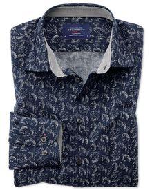 Slim Fit Hemd in Dunkelblau mit Blatt-Print