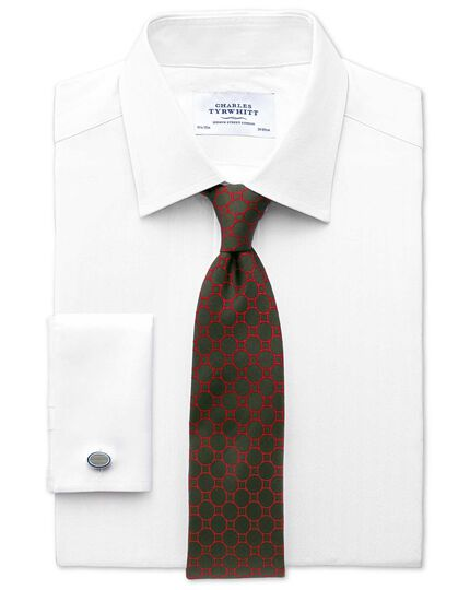 Slim fit Pima cotton herringbone white shirt