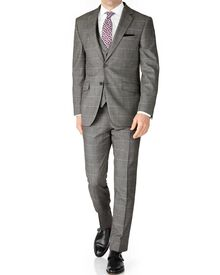 Grey check slim fit twill business suit