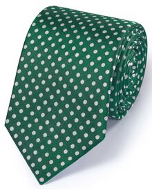 Green silk classic Oxford spot tie