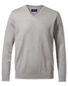 Silver merino wool v-neck jumper